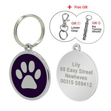 Paw Print Personalised Engraved Dog Tags Round Pet Cat ID Tags Free Engraving