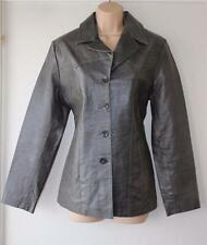Grey Leather REPEAT Hips Length Button Fitted Biker Blazer Coat Jacket Size L