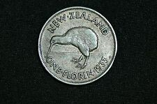 New Zealand One Florin Silver Coin, 1933