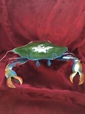 NEW FLAWLESS Electric Exceptional Metal & Glass Hard Shell BLUE CRAB LAMP Decor