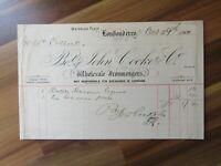 Old Irish document receipt - John Cooke - Londonderry - 1900