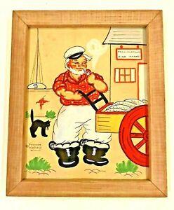 Yvonne Kehew Original Watercolor Framed Fisherman Provincetown MA Folk Art 1930s