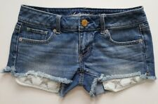 AMERICAN EAGLE Women's Cut-off Distressed Denim Short Shorts w Glitter Stars - 0