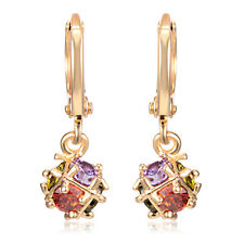 Womens Rainbow Crystal yellow Gold Filled Earring Magic Ball Dangle Hoop earings