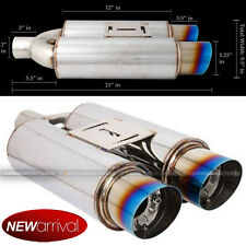 For C230 Dual Canister Blue Burnt Tip Weld On Axle Back Muffler Exhaust