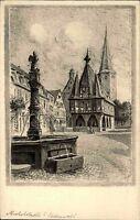MICHELSTADT Hessen alte Künstlerkarte um 1923 AK Markt Partie Kirche Brunnen