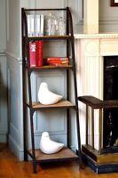 4 Tier Metal Frame Bookshelf - Urban Vintage Industrial Rustic - Aged Rust