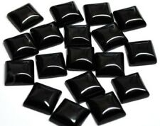 10 PIECES LOT BLACK ONYX 15X15 MM SQUARE LOOSE GEMSTONE CALIBRATED CABOCHON
