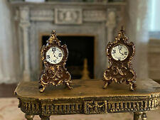 Vintage Miniature Dollhouse Artisan 2 French Ornate Mantle Clocks Hand Painted