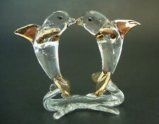 Glass DOLPHINS Ornament Clear Glass & Gold Painted Dolphins Animal Curio Figure