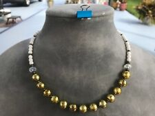 HDMD by Cyndi Necklace - Gold Foil, Clear and White Glass Beads & Bronze Spacers