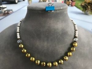 Handmade Necklace of Gold Metallic, Clear and White Glass Beads & Bronze Spacers