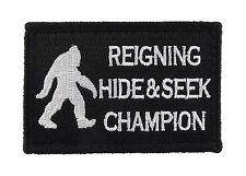 Bigfoot Reigning Hide and Seek Champion Hook & Loop Morale Tags Patch B&W