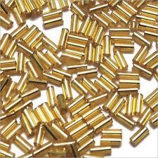 Perles de Rocailles Tubes en verre Trou argenté 4x2mm Doré 20g