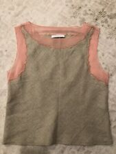 Prada Pink Chiffon and Linen Top with Gold thread, size 40, so beautiful!