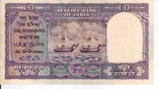 VERY RARE 10 RUPEE DOUBLE BOAT FANCY NOTE SIGNED BY C D DESHMUKH