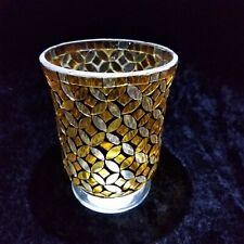 Gold Mosaic Glass Hurricane Vase Pillar Candle Holder Used