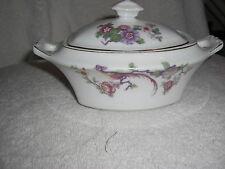 Thun Bohemia Czechoslovakia Covered Sugar Bowl Floral W/ Pheasant Pattern