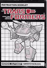 Transformers Original G1 Smokescreen Instruction Book