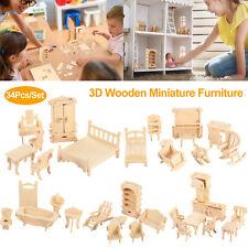 34Pc Wooden Miniature Furniture Models Dollhouse Kitchen Bedroom Mini Doll Diy