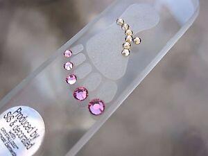 "Mont Bleu Czech Crystal Glass 7 1/2"" Foot File Adorned with Swarovski Crystals"