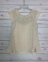 Pixley Stitch Fix Women's M Medium Ivory Lace Short Sleeve Spring Top Blouse