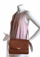 Mark Cross Vintage Brown Pebble Leather Crossbody Shoulder Bag Purse