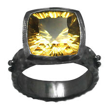 De Buman Sterling Silver 6.52ctw Genuine Square Citrine Ring, Size 7