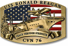 USS Ronald Reagan Belt Buckle CVN-76 US Navy Nuclear Aircraft Carrier Ship Brass