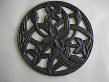 Large Round Cast Iron Piece or Trivet (no feet), Green