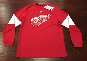 Adidas Detroit Red Wings Climalite Authentic NHL Long Sleeve Jersey Tee Sz M
