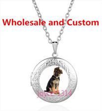 German Shepherd Cabochon Tibetan silver Glass Locket Pendant Necklace HZ-4407