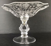 Vintage Cambridge Rose Point Etched Elegant Glass Key Handle Compote Bowl
