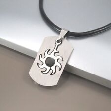 Silver Stainless Steel Dog Tag Sun Pendant 3mm Black Leather Surfer Necklace NEW