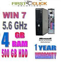 Fast Dell Window 7 Dual Core 5.6 GHz DESKTOP PC 4GB RAM 500GB HD,1 YEAR WARRANTY