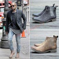 Motorcyle Men British Retro Ankle Boots Chelsea Suede Leather Desert Trendy Shoe