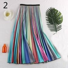 Women Pleated Skirt Rainbow Striped Colorful Midi Dress Swing A Line Casual