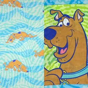 VINTAGE Scooby-Doo Twin Flat Bed Sheet & Pillowcase Double Sided 2000 Dan River