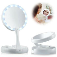 Portable LED Lighted Makeup Mirror  1X/10X Magnifying Bulbs Foldable Double-Side