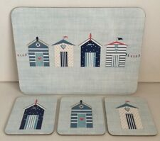 Coastal Beach Hut Placemats & Coasters Cork Backed Set of 6