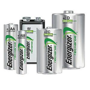 ENERGIZER AA AAA C D 9V RECHARGEABLE BATTERIES 500 700 800 1300 2000 2300mAh