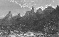 BRAZIL. Rio de Janeiro & Organ Mountains- 1880 old antique print picture
