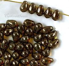 Tear Drop Beads, Lumi Brown, 4x6mm, Czech Glass Beads, Accent Beads, 50 Beads