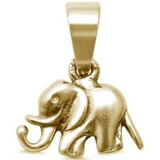 Cute! Yellow Gold Plated Plain Elephant .925 Sterling Silver Charm Pendant