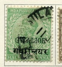 INDIA GWALIOR STATE; 1920s early GV issue fine used  1/2a