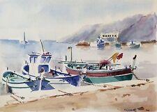 Grande aquarelle Marseille Provence port de l'Estaque signée M. Cobourg