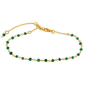 Faceted Green Onyx Beaded Bracelet 925 Silver Gold Plated Chain Bracelet