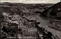 Oberwesel am Rhein alte s/w AK ~1950/60 Blick vom Schloß Schönburg Teilansicht