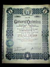 General Quimica  Uruguay  100 pesosShare certificate 1952