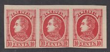 Venezuela Scott 70a VF MNG 1880 10c Scarlet Bolivar Imperf Strip of 3 SCV $112